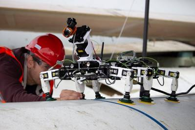 BladeBUG undergoing testing on a wind turbine blade at the National Renewable Energy Centre - Image: ORE Catapult