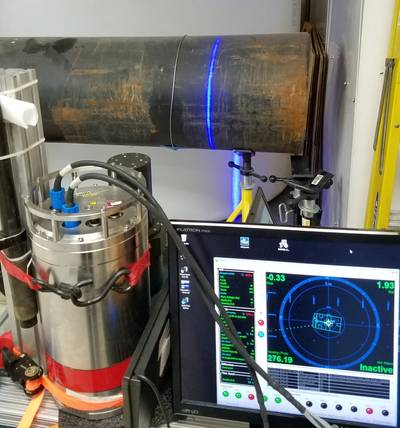 Calibrating the equipment: Newton's M3200UW scans a pipe using Sonardyne's SPRINT 500 and Fusion 6G software to remove the risk of latency and timing jitter, to gain centimetric level precision. (Photo: Sonardyne)