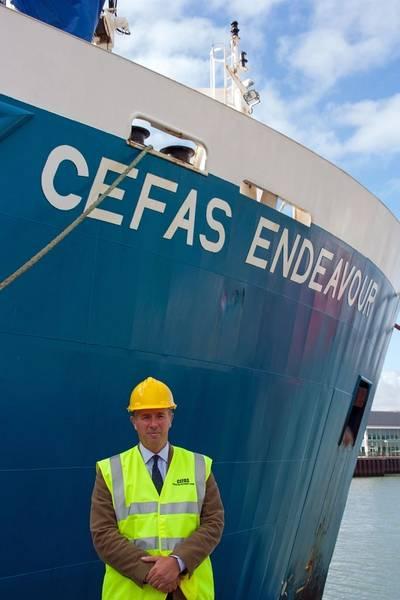 New Cefas CEO Tom Karsten, R/V Endeavour home port, Lowestoft, Suffolk, UK. (Photo: Cefas)