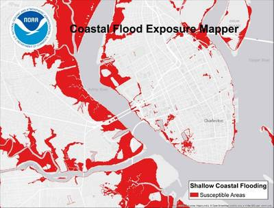Charleston, South Carolina, was found to be one of the top ten U.S. cities in increased nuisance flooding, according to a June 2014 NOAA report. The Coastal Flood Exposure Mapper enables users to visualize these flood impacts and others in order to craft better resilience plans. (Credit: NOAA)