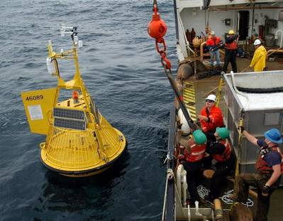 The Coast Guardsmen at the National Data Buoy Center leverage more than 70 years of combined Aids to Navigation experience to maintain weather buoys on navigable waterways around the country. (U.S. Coast Guard file photo)