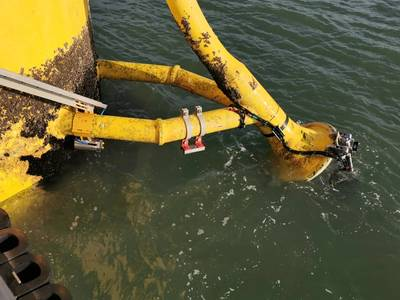 Credit: Subsea Innovation's Dynamic Bend Stiffener (DBS) is a retrofit assembly that is installed onto turbine cables of an offshore wind farm. - Credit: Dynamic Load Monitoring