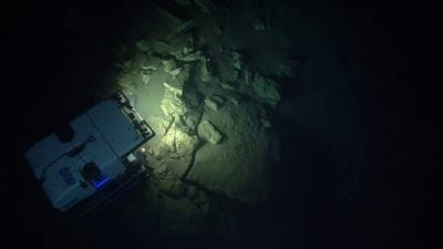 ROV Deep Discoverer investigates the geomorphology of Block Canyon. (Credit: NOAA)