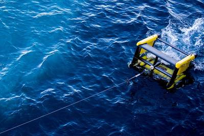 Deployment of MacArtney TRIAXUS for vertical profiling (Photo: MacArtney)