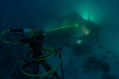 3D at Depth SL3 non-touch data collection process with the TBD-1 Devastator Aircraft (Credit: Air/Sea Heritage Foundation photo by Brett Seymour)