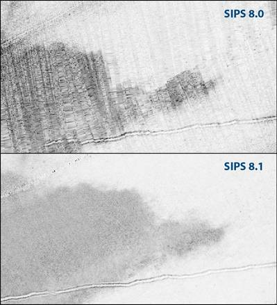 Direct comparison of a mosaic created in SIPS 8.0 and SIPS 8.1 highlights the enhanced image quality.