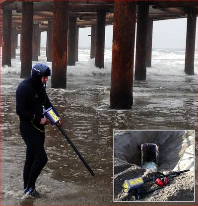 Diver uses PT-1 pinpointing magnetometer to search for buried steel sheets and beams next to pier. Inset photo – Steel beam located with PT-1.