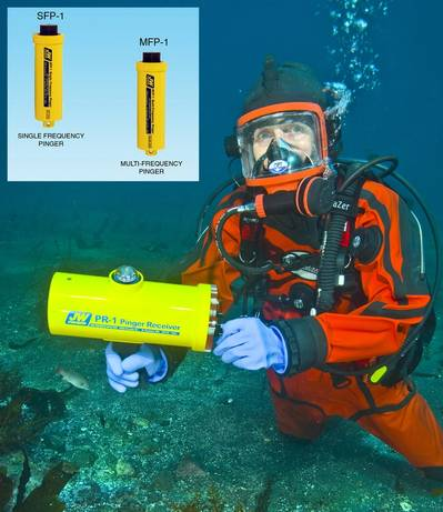 Diver with JW Fishers PR-1 acoustic receiver, Inset – Fishers acoustic pinger and transponder (photo courtesy of Steve Barsky)