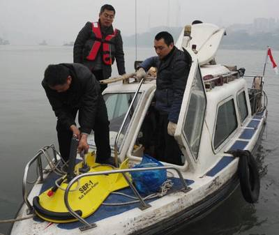 Domenti Apakidze on the Black Sea with his JW Fishers side scan sonar (Photo: JW Fishers)