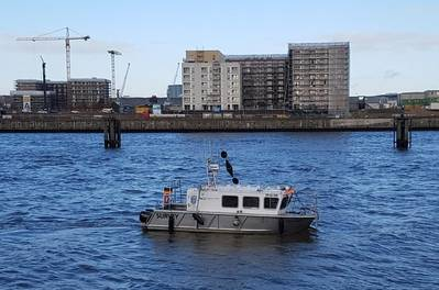 DVocean is an 8-meter-long, 2.65-meter-wide survey boat. (Photo: HafenCity University)