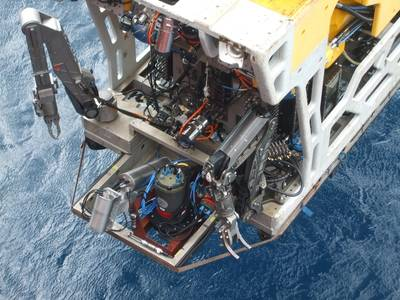 An ROV equipped with underwater dynamic laser mapping equipment from 2G Robotics and Sonardyne prepares for its next survey mission (Photo: Sonardyne)