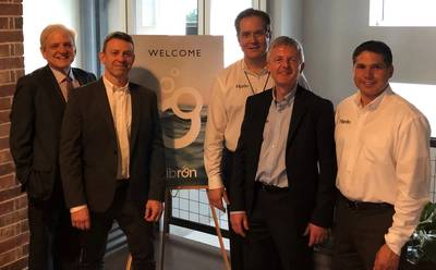 Fibron held a new branding launch event at the Karbach Brewery Houston during the week of OTC. Pictured, left to right: Pat Herbert, Investor / Advisor; Bruno Cianfini, Managing Director; Dale Hislop, Sales Director; Patrick Kearney, Technical Director; and Marco Cano, Sales Manager – Americas. (Photo: Fibron)