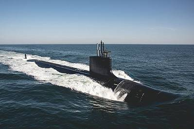 File photo of Virginia-class submarine the future USS Delaware (SSN 791). (U.S. Navy photo: Ashley Cowan)