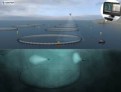 Future aquaculture operations: projects such as Artifex, Exposed and CageReporter are providing the groundwork for a revolution in fish farming. Operations could be carried out autonomously using ROVs, unmanned surface vessels and drones controlled from shore. The ROV could be used inside or outside the net in future, but has only been tested inside the cage so far. (Illustration courtesy of SINTEF Ocean AS.)
