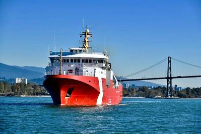 The future Capt. Jacques Cartier, the second of three Offshore Fisheries Science Vessels (OFSV) to be designed and built by Seaspan at its Vancouver Shipyards (VSY), began sea trials on October 10, 2019. Photo: Seaspan Shipyard.