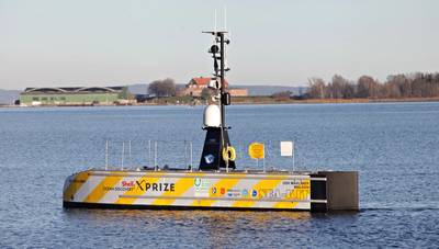 The GEBCO-NF Alumni Team's concept utilizes a SEA-KIT unmanned surface vessel, USV Maxlimer. (Photo: Kongsberg Maritime)