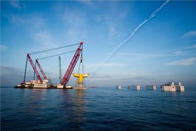 Gravity Based Foundation  for the offshore wind farm Kriegers Flak in Denmark  KFBE Installation Photo courtesy Ian De Nul Group