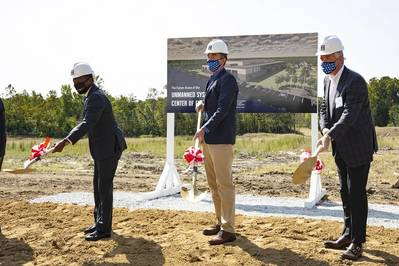 Hampton Mayor Donnie Tuck, Virginia Governor Ralph Northam and HII Executive Vice President and President, HII Technical Solutions Andy Green break ground on HII's Unmanned Systems Center of Excellence. (Photo: HII)