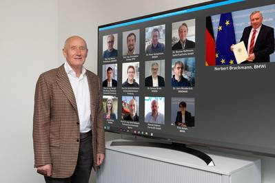 Hermann Rosen, President of the ROSEN Group (on the left in the photo), at the handover of the funding decision by Norbert Brackmann, Coordinator of the German Government for the Maritime Industry (on the top right), to representatives of the nine participants of the CIAM project during an online event. Image: ROSEN Group
