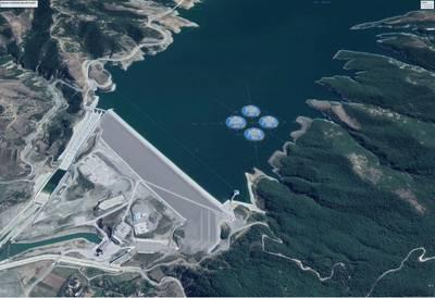 Illustration of floating solar plant at Banja reservoir - Credit: Statkraft