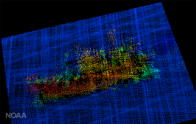 A 3-D image from NOAA Ship Fairweather multi-beam sonar. The profile of the F/V Destination is clearly visible, including the bulbous bow to the right, the forward house and mast, equipment (likely crab pots) stacked amidships, the deck crane aft, and the skeg and rudder. (Image: NOAA)
