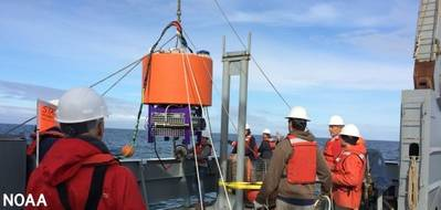 A joint deployment of an environmental sensor processor off the Washington coast by NOAA and the Northwest Association of Networked Ocean Observing Systems, one of the certified IOOS regional associations. (Photo: Stephanie Moore/NOAA)