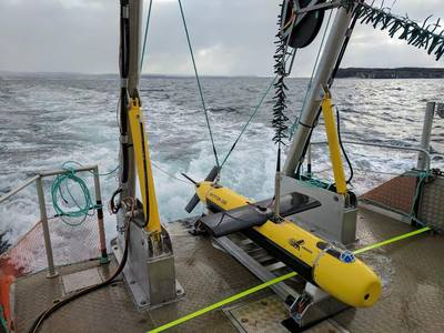 KATFISH undergoing sea trials in Conception Bay South, Newfoundland in February 2017 (Photo: Kraken Sonar)