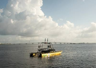 Klein partnered with Seafloor Systems, Inc. to integrate the Klein MAX View 600 gap-filling side scan sonar system with their large-format, wave adaptive HydroCat-180 USV. Photo courtesy MIND Technology