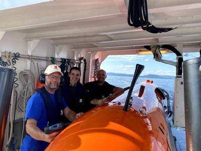 The Kongsberg Maritime team with the HUGIN AUV, a 2020 AUVSI XCELLENCE third-prize winner. Photo: Kongsberg