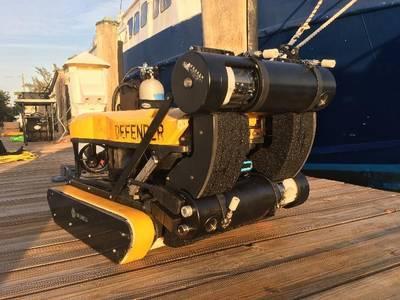 Kraken's SeaVision 3D Underwater Laser Scanner integrated onto the Greensea Hull Crawler, with foam to maintain neutral buoyancy (Photo: Kraken)