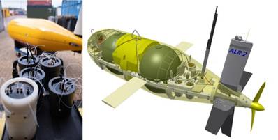 Left: Lab-On-Chip chemical sensors (foreground) with autonomous underwater vehicle (submarine) Autosub Long Range behind. Right: CAD model showing Autosub Long Range with seven Lab-On-Chip nutrient sensors in the nose and four Lab-On-Chip and one electrochemical sensor for the ocean carbonate (CO2) system at the stern. (Images: NOC)