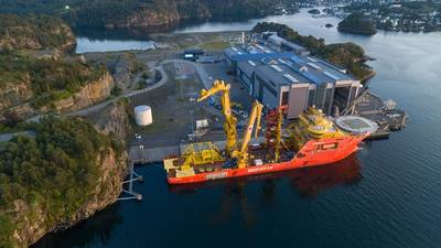 Load-out of pump station at OneSubsea, Horsøy near Bergen. (Photo: Jan Arne Wold & Audun Skadberg / Equinor ASA)