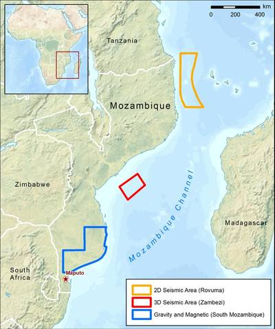 Location map of the CGG multi-client surveys in Mozambique (Image: CGG)