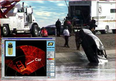 Main: Car being pulled from California drainage canal. Inset: Scanning sonar image of a car on the bottom.
