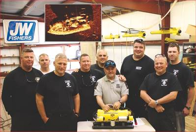Members of Boston Police Department's Special Operations Unit with their JW Fishers SeaLion-2 ROV, Inset – Side scan image of boat found by Tafton Fire Company.