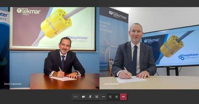 The memorandum of understanding was signed by Gary Howland, Group Sales Director at Tekmar Group and David Capotosto, Co-President & Director of Business Development at DeepWater Buoyancy - Credit: Tekmar