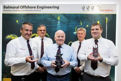 Jim Milne, center, with Balmoral Comtec directors Gary Yeoman, Bill Main, Allan Robertson and Fraser Milne (Photo: Balmoral)