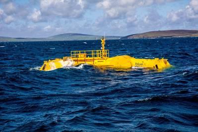 Mocean Energy Blue X in operation at EMEC Scapa Flow wave energy test site, (photo Colin Keldie)