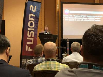Edd Moller presents Fusion 2 on launch day during OSEA 2018 in Singapore (Photo: Sonardyne)