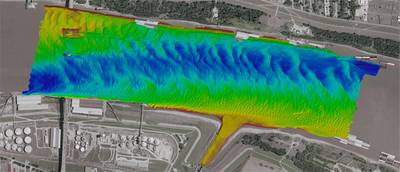 Multibeam bathymetry on the Mississippi River at Baton Rouge  (Photo: Teledyne)
