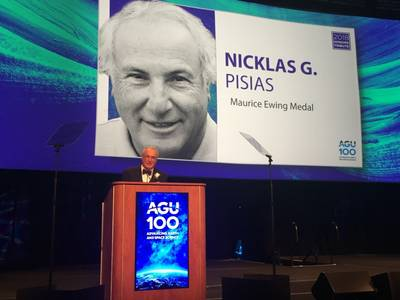 Dr. Nicklas Pisias, a professor emeritus at Oregon State University, is the 2018 recipient of the Maurice Ewing Medal, sponsored jointly by the U.S. Navy and the American Geophysical Union. (Photo courtesy of the AGU)