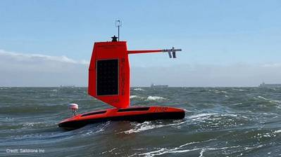 NOAA and Saildrone Inc. are piloting five specially designed saildrones in the Atlantic Ocean to gather data around the clock to help understand the physical processes of hurricanes. Photo courtesy Saildrone
