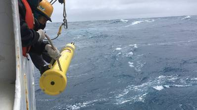"""Ocean-going monitoring floats like this one are deployed from """"ships of opportunity"""" as they transit the ocean. (Photo: SOCCOM)"""