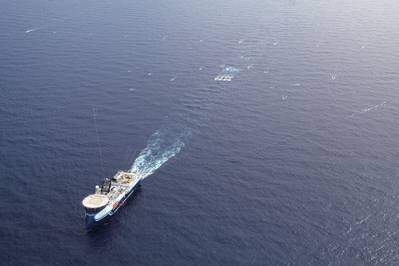 Oceanic Sirius deploying streamer spread during offshore seismic survey (image courtesy of CGG)