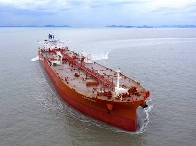 ONEX Peace, an Aframax tanker built by Hyundai Samho Heavy Industries and delivered to its owner ONEX, has become the world's first merchant ship to receive DNV's SILENT-E notation.. Photo courtesy: HSHI