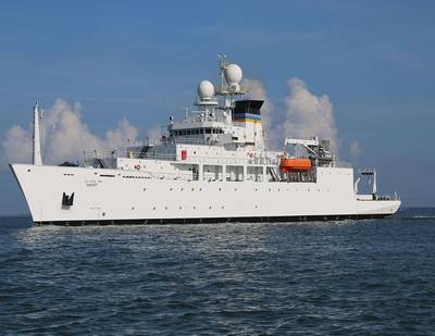 Photo of USNS Maury (T-AGS 66) Constructed by Halter Marine for the U.S. Navy. Courtesy of Halter Marine and the U.S. Navy.