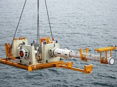 Pipeline End Module placed at the end of the pipeline to make it possible to clean (pigg) the pipeline and at the same time connecting it to the export line. Photo: Kongsberg