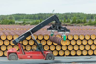 Pipes for Nord Stream 2 gas pipeline in Kotka, Finland (Photo: Gazprom)