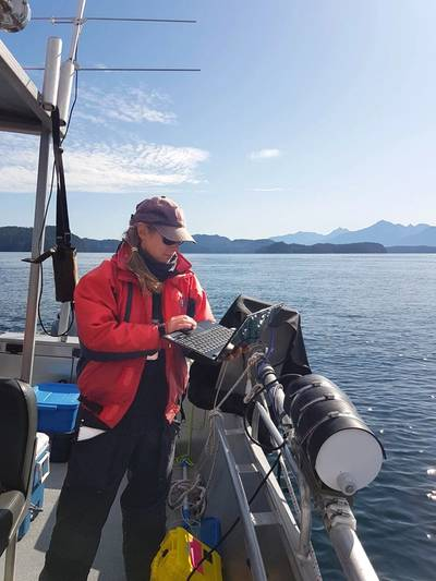 Rhonda Reidy preparing the AZFP for prey mapping just moments after tagging a whale. (photo credit: Jessica Qualley).