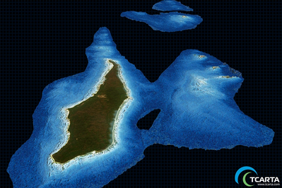 Satellite Derived Bathymetry (SDB) at a resolution of 10m (Image: TCarta)